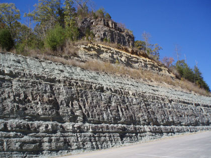 Exposure of the Borden and Slade Formations at Mill Creek Lake in Powell County.